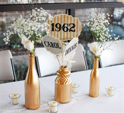 table centerpieces for 50th wedding anniversary golden 50th wedding anniversary
