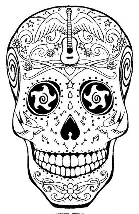 American Hippie Art Coloring Page Music Sugar Skull Mexican Skull Coloring Pages