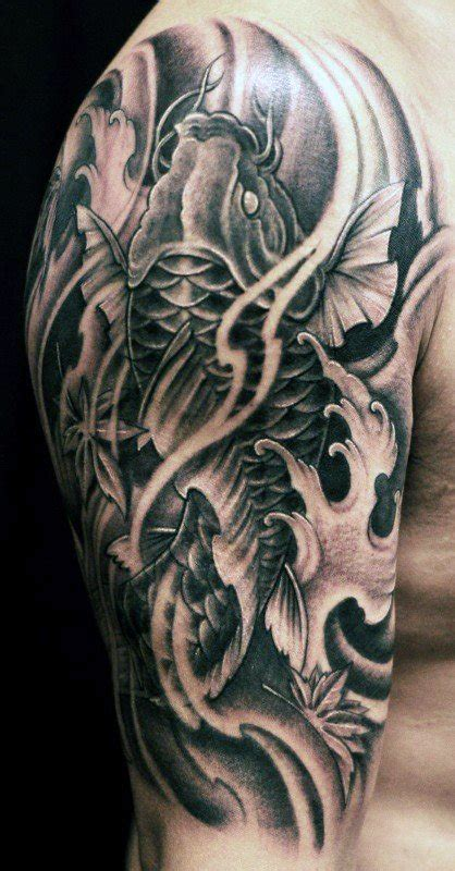 black and grey koi tattoo meaning koi fish tattoos for men ideas and inspiration for guys