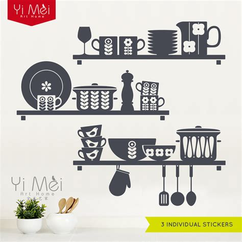 wall stickers for the kitchen scandinavian crockery shelves kitchen wall sticker cooking