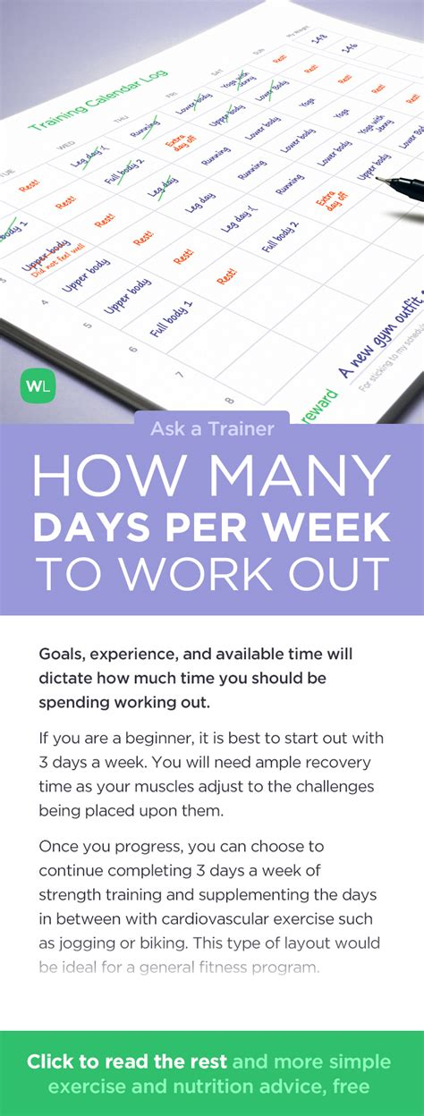 which day is today as per week how many days per week should i work out ask a trainer