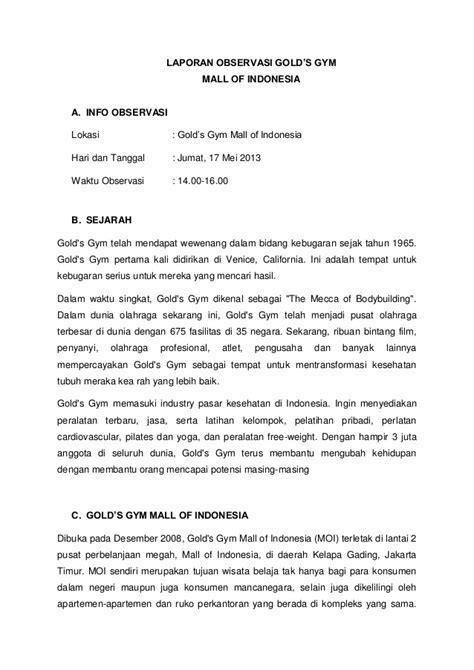 format laporan observasi pdf laporan observasi tempat fitness gold s gym moi