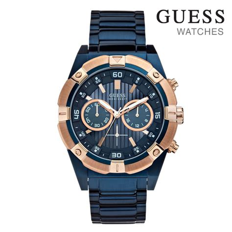 Guess W0149l5 Rosegold Blue designer guess mens in blue plate gold buy