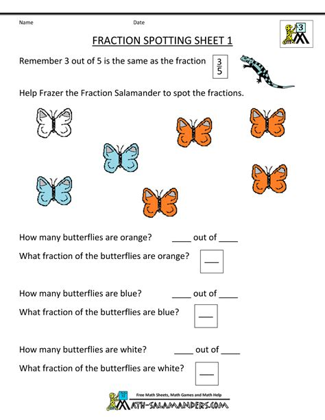 3rd Grade Fractions Worksheets by Finding Fractions Fraction Spotting