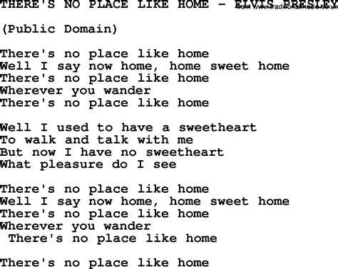 There Is A Place Song Lyrics There S No Place Like Home Elvis Txt By Elvis Lyrics And Chords