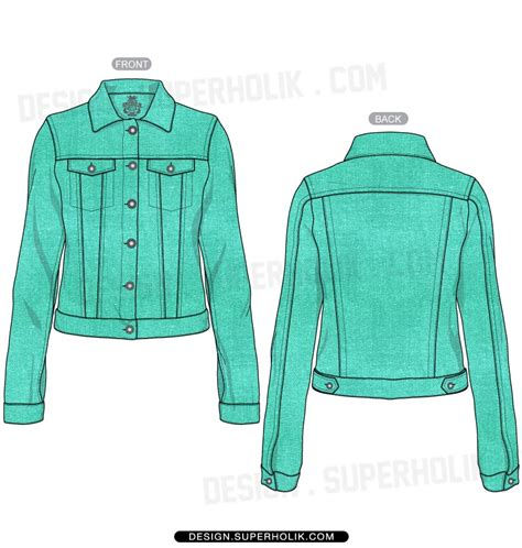 desain vektor jaket women s denim jacket template sketches flats technical