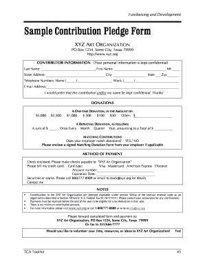 pledge form template sle contribution pledge form xyz organization