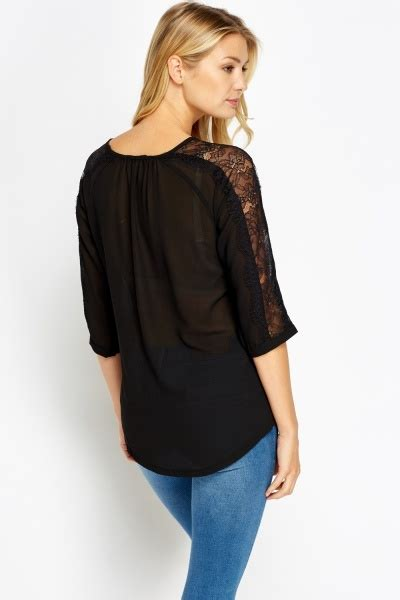 Lace Panel Sleeve Blouse lace panel sleeve sheer blouse black just 163 5