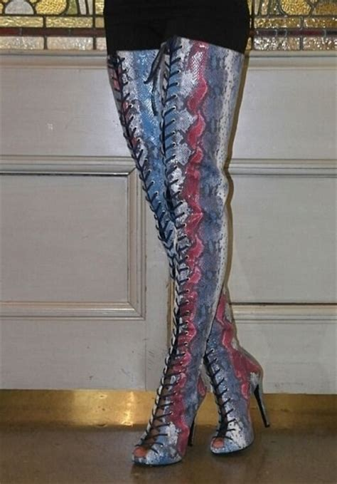 ziginy piarry multi snake skin thigh high boot on storenvy