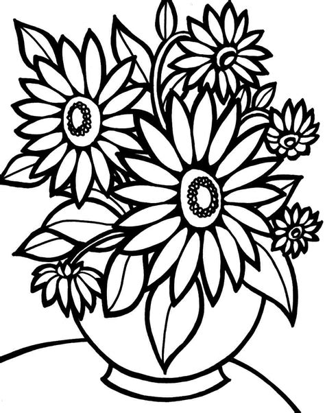 colouring pages bouquet flowers printable   kids