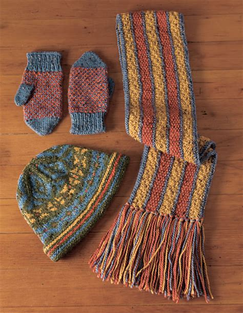 knitting pattern hat scarf mittens stranded hat reversible scarf and helix mittens