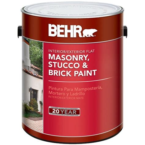 behr 1 gal white flat masonry stucco and brick interior exterior paint 27001 the home depot