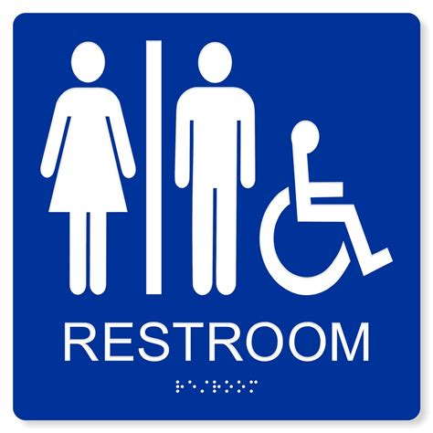 what is a unisex bathroom ada accessible unisex restroom sign 4 colors available