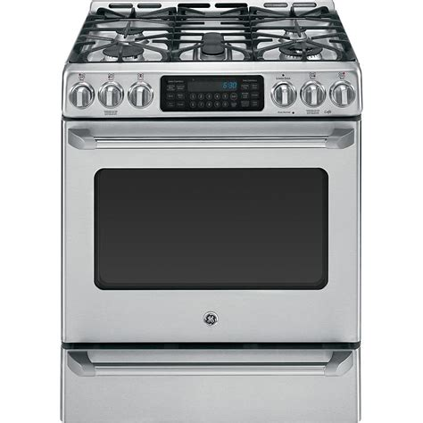 Ge Cafe Series 30 Freestanding Range With Baking Drawer ge cafe series cgs985setss 5 4 cu ft freestanding gas range w baking drawer stainless