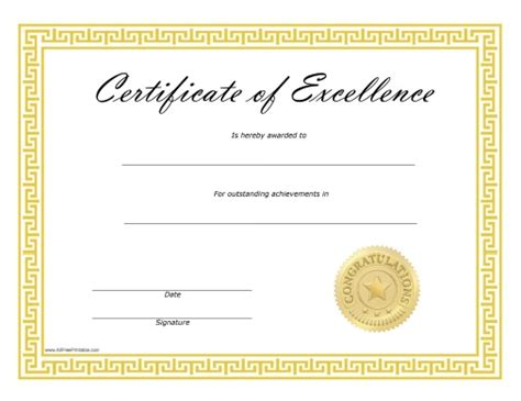 certificate of excellence template free blank certificates certificate templates