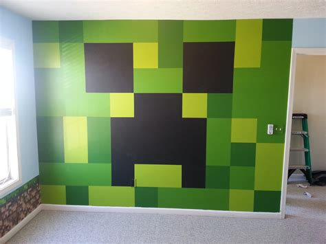 minecraft bedroom ideas minecraft bedroom painted creeper wall minecraft