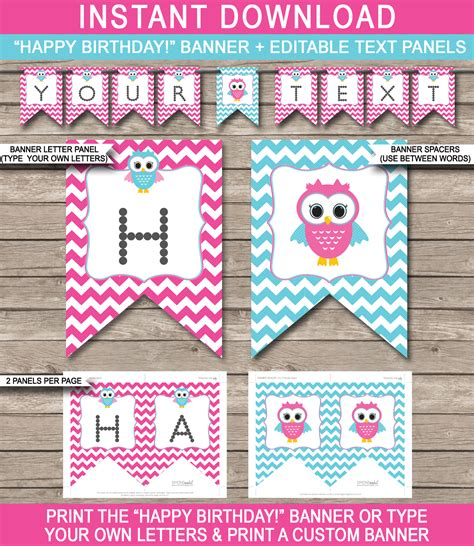 birthday banner template owl birthday banner template birthday banner editable