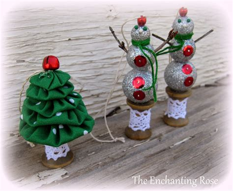 the enchanting rose yo yo christmas tree glitter snowmen ornaments