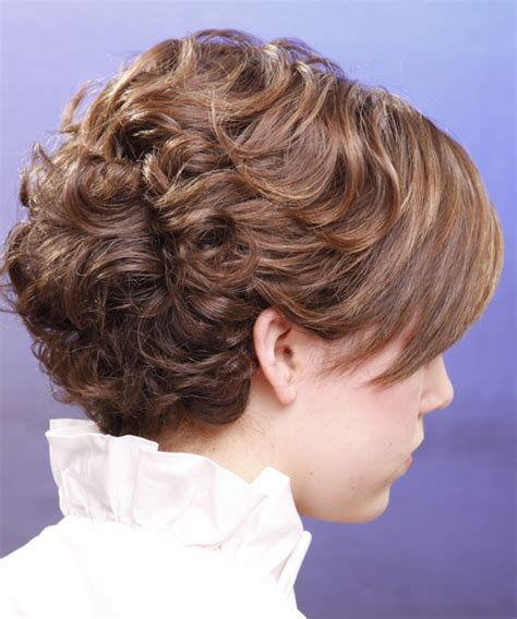 short hairhair straght on back curly on top short curly formal hairstyle with side swept bangs light