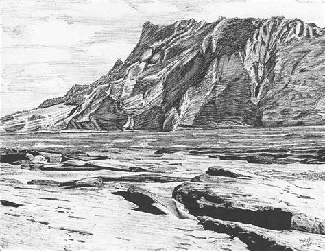 Landscape Drawing Coastal Landscape Drawing By Reppard Powers