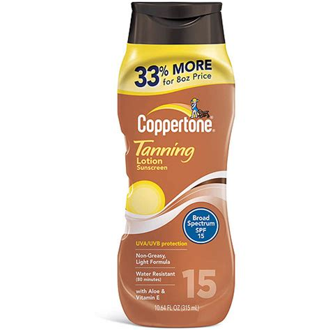 sunscreen in tanning bed coppertone tanning lotion sunscreen spf 15 10 64 oz