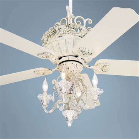 52 quot casa chic rubbed white ceiling fan with 4 light kit 12277 19775 ls plus