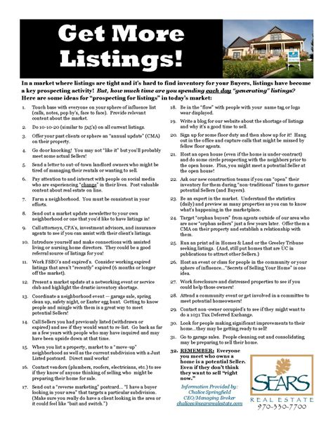 Listing Prospecting Checklist Real Estate Listing Checklist Template