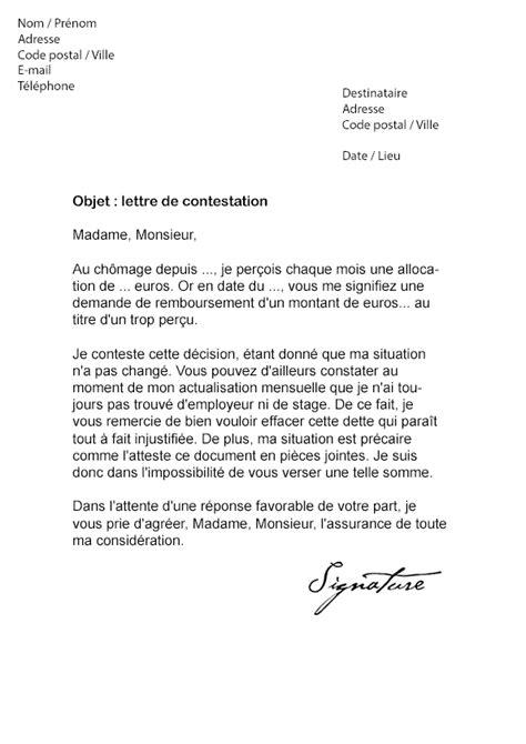 Exemple De Lettre De Motivation Pour Pole Emploi lettre de contestation p 244 le emploi suite 224 un trop per 231 u