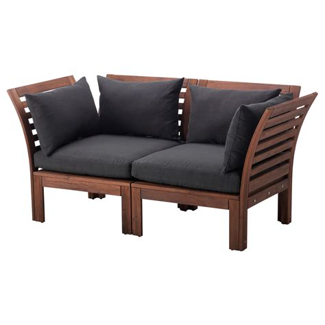 outdoor couches ikea 196 pplar 214 2 seat sofa outdoor brown stained h 229 ll 246 black