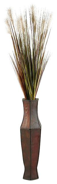 Indoor Decorative Trees For The Home by D Amp W Silks Tall Onion Grass In Tall Wooden Vase