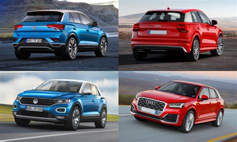 volkswagen audi side by side volkswagen t roc vs audi q2 car magazine
