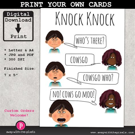 printable children s knock knock jokes knock knock joke cowsgo greeting card for by awaywiththepixels