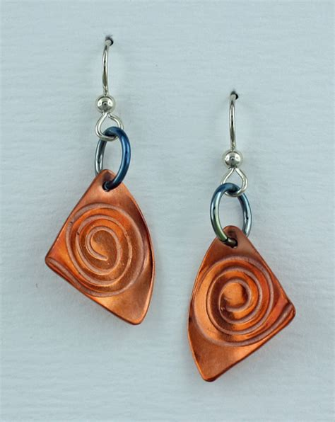 Handmade Copper Jewelry Designs - handmade copper spiral earrings finely found designs