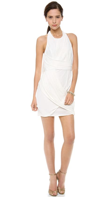 dress drape zimmermann back drape dress white in white lyst