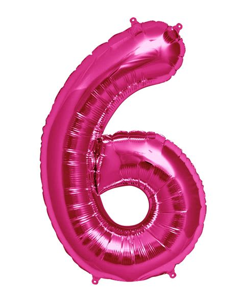 Pink Foil Balloon L foil balloon number 6 pink large selection of balloons horror shop