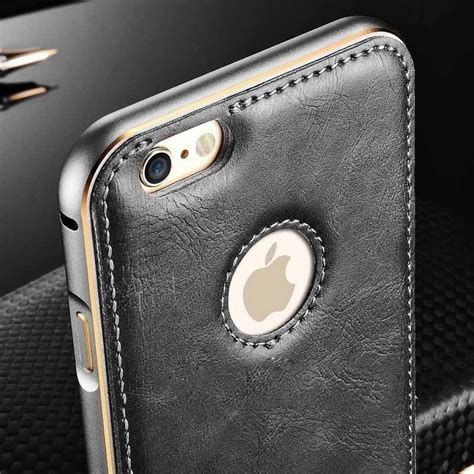 luxury aluminum metal bumper frame leather cover for
