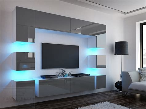Tv Led Beleuchtung by Kaufexpert Wohnwand Quadro Grau Hochglanz Wei 223 228 Cm