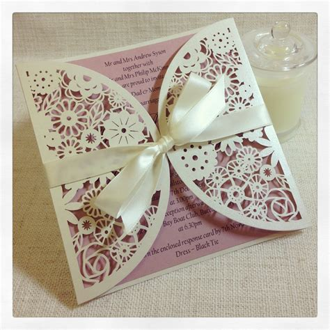 Paper Lace Wedding Invitations by Floral Paper Lace Wedding Invitation Laser Cut