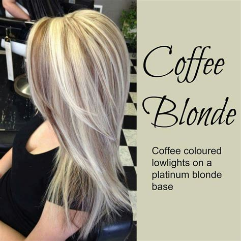 short platinum blonde with low lights coffee blonde hair color idea coffee colored lowlights on