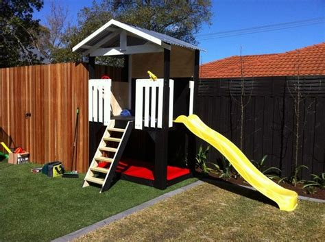 mycubby fort with slide sandpit backyard play