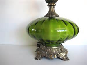 Antique Looking Desk Vintage Green Table Lamp Green Glass Lamp Hollywood Regency