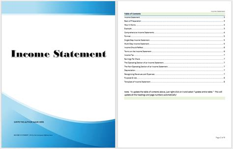 income statement template microsoft word templates
