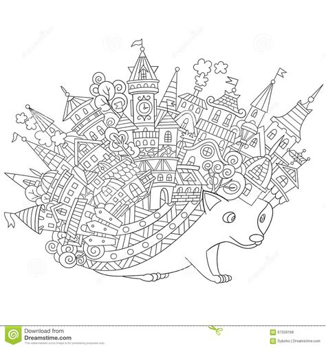 hedgehog coloring book for adults animal adults coloring book books zentangle stylized hedgehog stock vector image 67559168