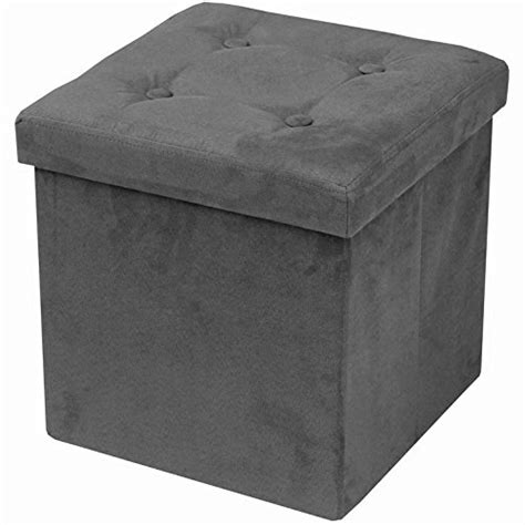 Suede Storage Ottoman Faux Suede Storage Ottoman Cube Foldable Collapsible Box Stool Home Decor Gray Ebay