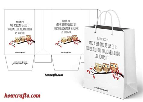 Gift Bag Cards For Baby Template by Howcrafts Owl Themed Paper Bag Template Howcrafts