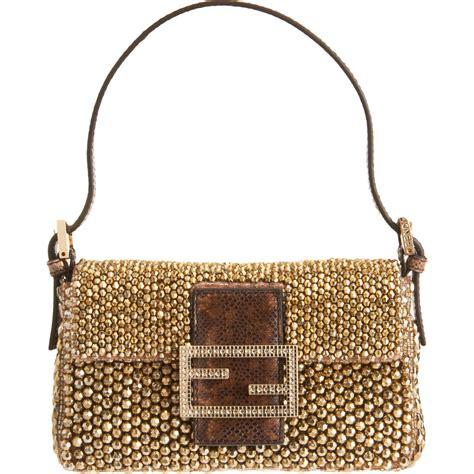 fendi beaded handbag fendi mini beaded baguette bag in gold gunmetal lyst