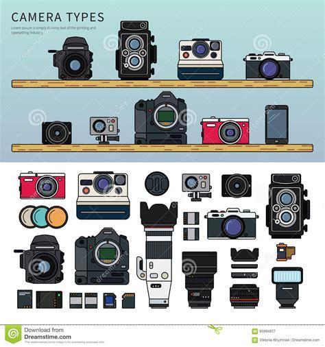 Vintage Tali Kamera Vintage All Type different types of stock vector illustration of