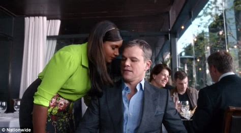nationwide commercial actress mindy matt damon denies mindy kaling a kiss in nationwide super