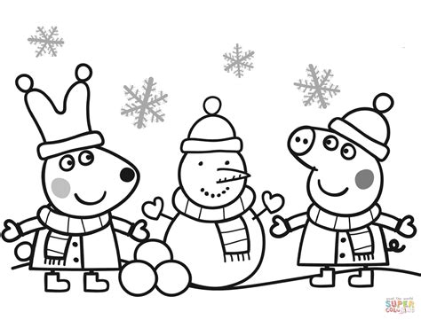 peppa rebecca making snowman coloring free printable coloring pages