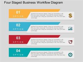 one slide presentation template four staged business workflow diagram flat powerpoint